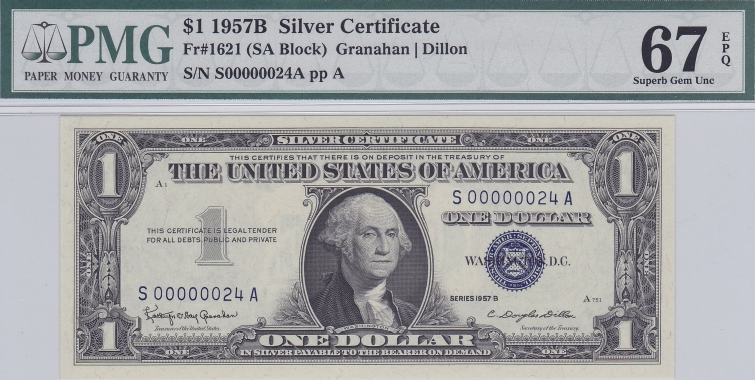 1957B 1 Silver Certificate Condition PMG 67 EPQ Price 400 LOW NUMBER